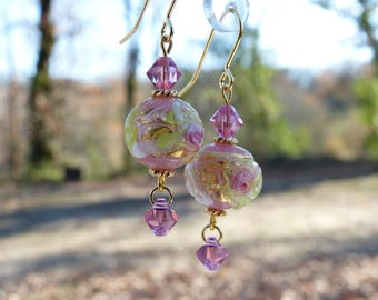 """Fiorato"" pink flowers and gold Murano glass and Swarovski crystal earrings"