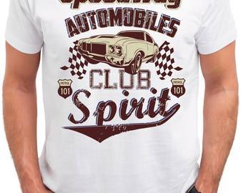 Speedway Automobiles Club. Men's white cotton t-shirt