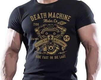 Death Machine. Motorbike. Men's black cotton T-shirt.