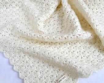 "Hand Crocheted Baby Blanket, size 23""x 23"" (60x60 cm)"