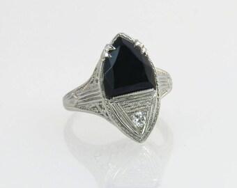 Antique 18K White Gold Filigree Genuine Diamond & Black Onyx Art Deco Ring