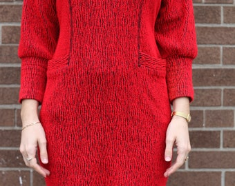 Vintage  Red and Black Joni Blair Of California Knit Dress