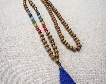 Mala Necklace   108 Prayer Beads   Chakra  Necklace   Yoga Necklace   Meditation Necklace   Tassel Necklace   Buddhist Necklace   HANDMADE