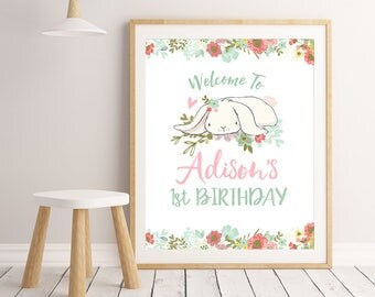 Welcome Birthday Sign Bunny Birthday Party Decor First Birthday Party Decorations Girl First Birthday Sign Welcome To Birthday Party Sign