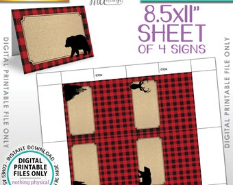 """Lumberjack Theme Labels, Red Checker Buffalo Plaid Table Tent Menu Labels, Food Labels Buffet Cards, PRINTABLE 8.5x11"""" Instant Download"""
