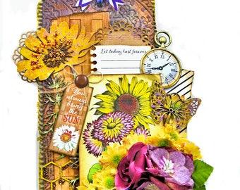 Sunflowers & Wildflowers Mixed Media Art Tag