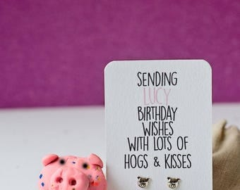 Hogs and kisses pig earrings birthday