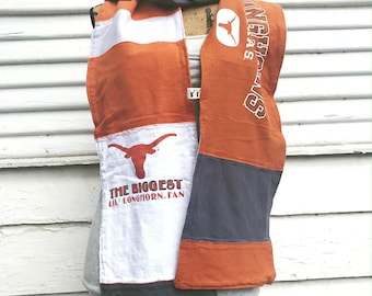 T-Shirt Scarf - LONGHORNS - UT - University of Texas Scarf - T-Shirt Patched Scarf - Fall Scarf - #3 - BM