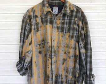 XL - Flannel Shirt - Bleached - Vintage Washed Flannel - Oversized Flannel - Distressed Flannel - Plaid Shirt - Fall Shirt - #66 BM