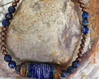 Blue Lapis and Ceramic Focal Man's Stretch Bracelet