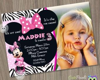 Minnie Mouse Invitation, Minnie Mouse Zebra, Minnie Mouse Birthday, Minnie Mouse Party, Minnie Mouse, Disney Invitation, Minnie Mouse Pink