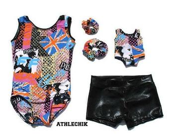 Gymnastics leotard set, shorts and scrunchie with Dolls leotard and scrunchie, dance set, gymnastics outfit, kit, dance, toddler, london