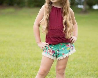 Girls Boho Shorts- Toddler Girls Shorts- floral Shorts- Fall Shorts- Bohemian Style- Hipster- 6/12m, 12/18m, 18/24m, 2t, 3t, 4t, 5,6,7,8