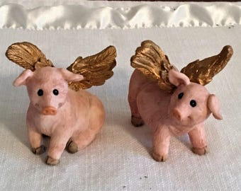 When Pigs Fly....Set of 2 FLYING Pigs....Gold ANGEL WINGS...Perfect Gift for a Collector....New Listing