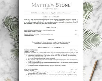 Professional Resume Template For Word, Pages And OpenOffice / Simple Resume  Design | Professional CV  3 Page Resume