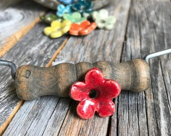 Set of 12 Ceramic Flower Beads | Rainbow Color Stoneware flower beads | Pottery Flower charms | Knitware Accents | Ceramic Jewelry Supply