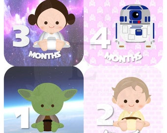 Star Wars Month Stickers - Baby girl Monthly stickers - Baby month stickers -  Months 1-12 stickers - baby girl stickers