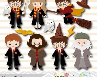 Digital Harry Potter Clip Art, Instant Download Harry Potter Clipart, Wizard Digital Clip Art, Harry Potter Printable DIY 0090