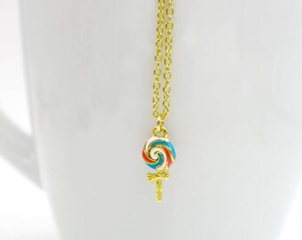 Lollipop Necklace, Candy Necklace, Gold Plated Lollipop Necklace, Lollipop Jewelry, Enamel Lollipop Charm Necklace, Sweet Necklace, Cute