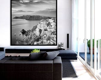 Oversized Wall Art Black and White, Santorini Art, Greek Islands Print, Santorini Print, Santorini Gift - Sunrise, Oia, Santorini, Greece