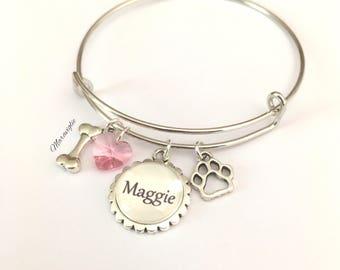 Personalized Dog Bracelet, Dog Lover Bracelet, Dog Bangle Bracelet, Dog Name Jewelry, Dog Lover Gift