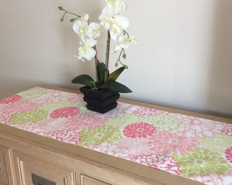 """50"""" Pink Peony Dresser Scarf - Pink Floral Dresser Scarf -  Floral Table Runner - Pink and Green Floral Home Decor - Greenery"""