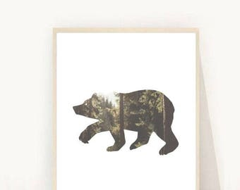 Bear Printable, Bear Art, Bear Print, Woodlands Nursery, Woodlands Animal,  Bear Poster, Printable Art, Home Decor,  digital  Download