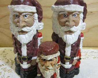 Lot of 3 Vintage Primitive Santa Claus Figurines * Primitive Santa Claus Christmas Decor