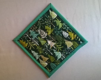 Set of Two Evergreen Trees Potholders Hot Pads Hanging Loop Optional