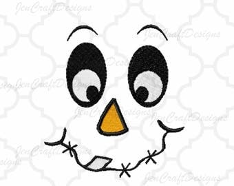 Scarecrow Face #1 Embroidery design, Fall Instant Download digital file in DST, EXP, HUS, Jef, Pes, Vip and Xxx