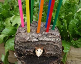 Handmade Recycled Pencil Holder from Oak, Woodland Animal, Reclaimed, Desk Tidy, Organiser