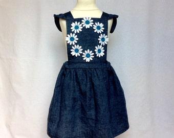 Fairy linen dress, girl's dress, pinafore dress, blue dress, flower dress, flower girl dress, summer dress, size 2-4 years