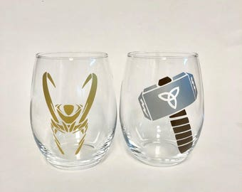 Thor and Loki stemless wine glass set
