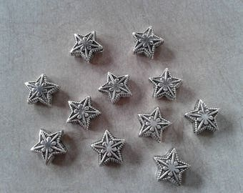 8 pcs star beads, large stars, snowflakes, Christmas, spacer beads, silver Metal - 9 x 4 mm