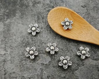 Flower spacer beads, flowers, silver Metal beads, 9 mm beads