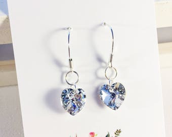 Crystal Clear Earrings With Swarovski Elements 925 Sterling Silver