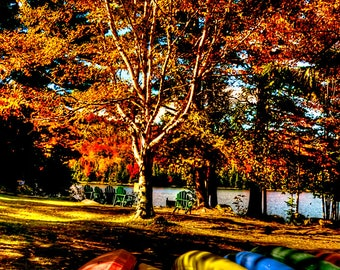 Canoe Photograph, Kayak Photograph, High Peaks, Adirondack Mountains, Adirondack Photograph, Lake Placid, Autumn Color, Autumn Photograph