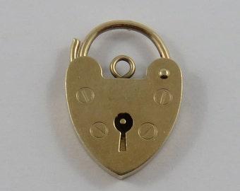 Heart Padlock With Key Hole Mechanical 9K Gold Vintage Charm For Bracelet