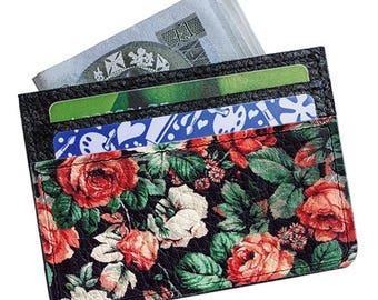 Leather mini-wallet - Woman's wallet - Business card holder - Original design - Youth style - Handmade mini-wallet - Vintage flowers - #287