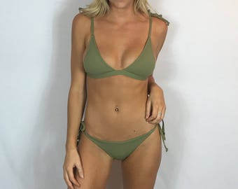 "Large Brazilian Bikini Set Swimsuit ""Henley"" Olive Green Ribbed Strappy Bathing Suit Set Cheeky Bikini Set Pepper Blackwood"