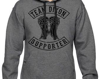 Men's Team Daryl Dixon Supporter The Walking Dead Pullover Hoodie Charcoal Hooded Sweatshirt