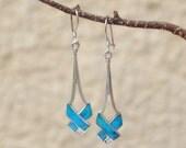 Turquoise earrings - dangling earrings - silver earrings - boho earrings - vintage earrings