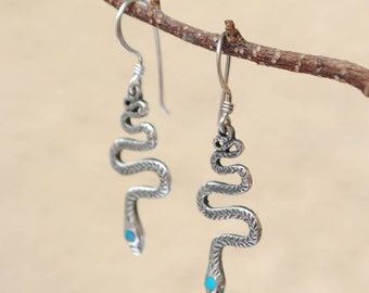 Snake earrings sterling silver and turquoise