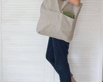 Linen shoulder bag, Bag with pockets, Market bag, Shoppers bag, Softened linen, Natural flax bag, Grocery tote, Farm market bag