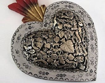 "Mexican Folk Art//Milagros Heart//Carved Wood Heart//Sacred Heart//LG 12x9""+"
