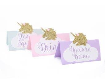 Unicorn Food Tent - Unicorn Table Tent - Unicorn Table Decor - Unicorn Place Card - Unicorn Food Card - Unicorn Babyshower- Unicorn Birthday