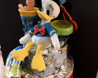 Mickey and Donald diaper cake