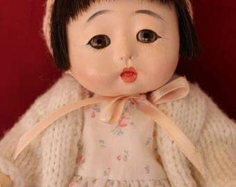 "Vintage 9""  Ichimatsu Japanese baby doll with human hair, Re dressed Orphan So Sweet!"