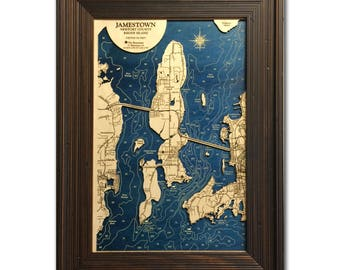 Jamestown Rhode Island Dimensional Wood Carved Depth Contour Map - Customize With Your Home Information
