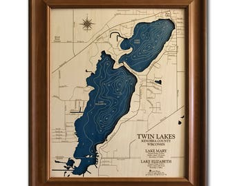 Twin Lakes Wisconsin Dimensional Wood Carved Depth Contour Map - Customize With Your Home Information